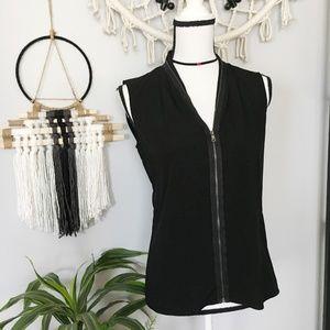 Tahari black zipper detail sleeveless blouse XS